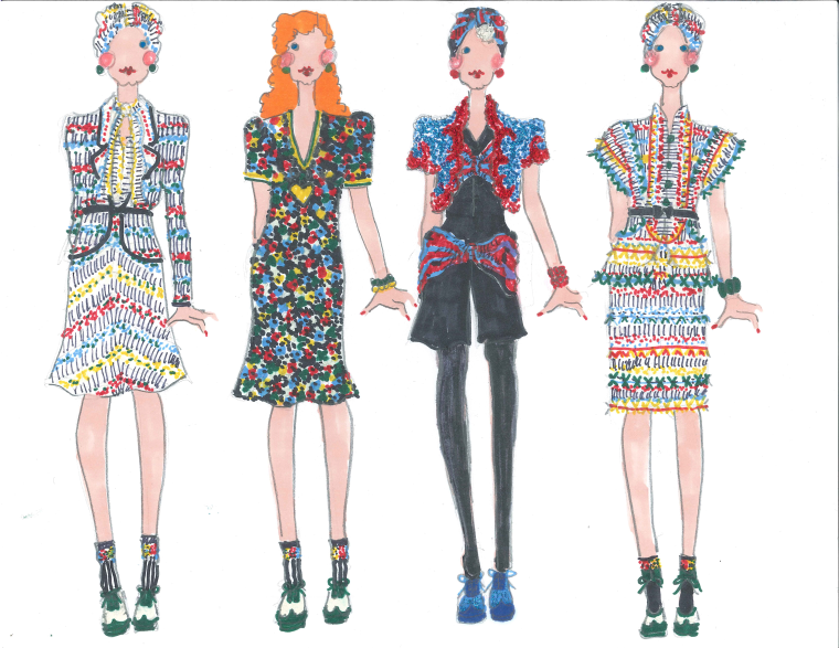 Sketches from Anna Sui's 2012 Spring/Summer collection.