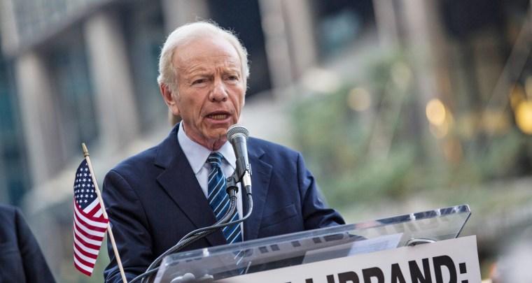 "Image: Former U.S. Sen. Joe Lieberman (I-CT), speaks at a ""Stop Iran Rally"""