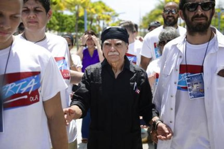 Arrival of Puerto Rican nationalist Oscar Lopez Rivera arrives for a press conference, following his release from house arrest after decades in custody, in San Juan, Puerto Rico, Wednesday, May 17, 2017.