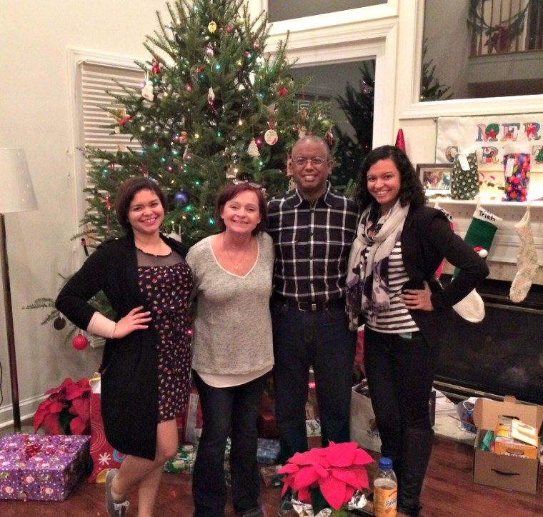 Claire, Kathleen, Richard and Emily Moss pictured during Christmas 2015.