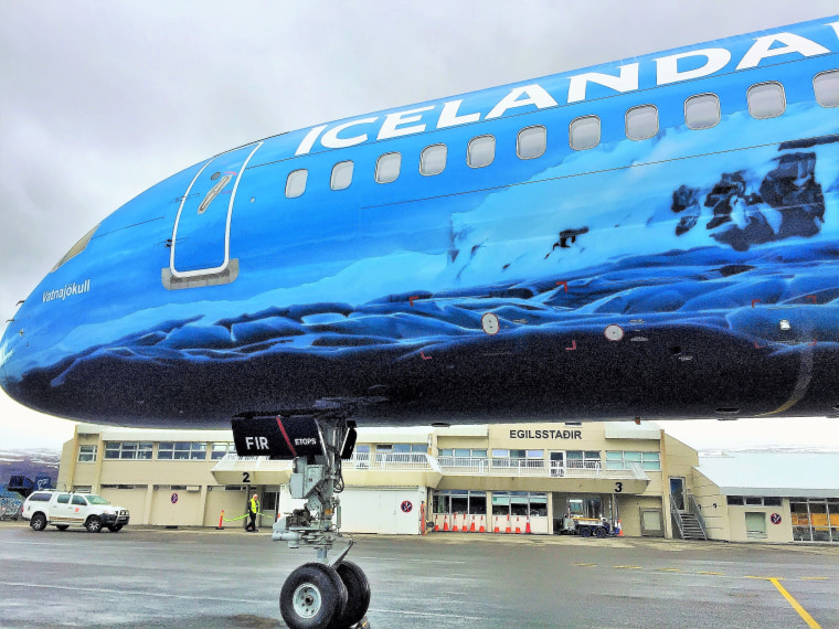 Icelandair just launched a glacier-themed plane that features ice-blue interior lighting, plus headrests, cups, napkins, lavatory decor — and even airsickness bags — all with a glacier motif.