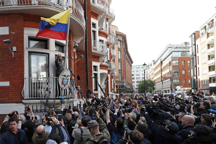 Image: Wikileaks founder Julian Assange speaks on the balcony of the Embassy of Ecuador in London