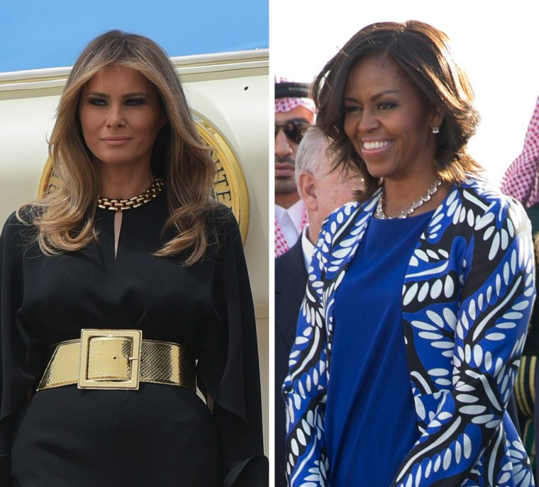 Image: A combo of first ladies Melania Trump and Michelle Obama in Saudi Arabia