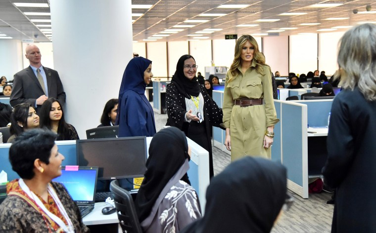 Image: Melania Trump meets with employees during a visit to the GE All-Women Business Process Services Centre