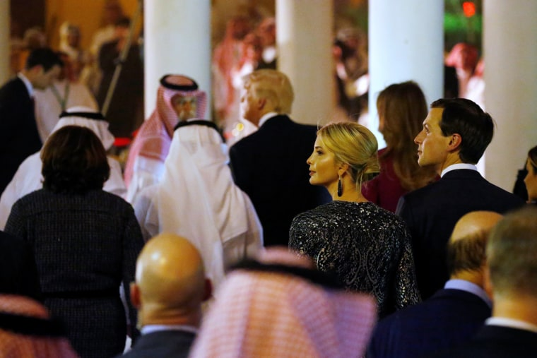 Image: Ivanka Trump and Kushner look on as U.S. President Trump arrives at a welcome ceremony at Al Murabba Palace in Riyadh