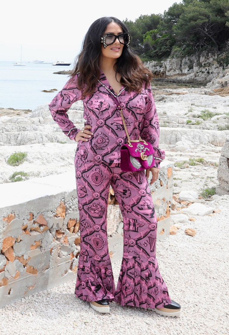 Salma Hayek in a pink jumpsuit at 2017 Cannes Film Festival