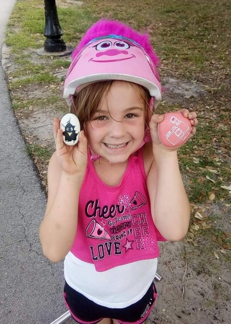 Kendra Brownell-Ryan says her daughter, Molly, 6, is constantly on the lookout for rocks in their Florida town.