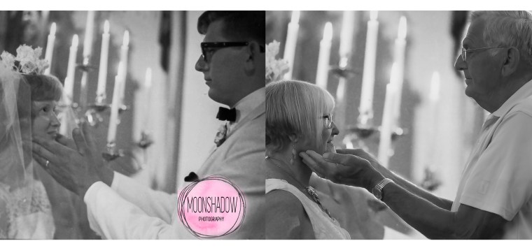 Then and now: Photographer Jenilee Counsil photographed Mike and Carol posing this month just the way they had on their wedding day, and combined their original photo taken by Mueller Studio with the new image, to create a striking side-by-side photo.