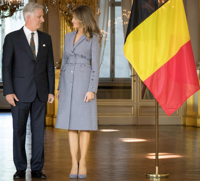King Philippe - Filip of Belgium and First Lady Melania Trump prior to a reception at the Royal Palace in Brussels, on May 24, 2017.