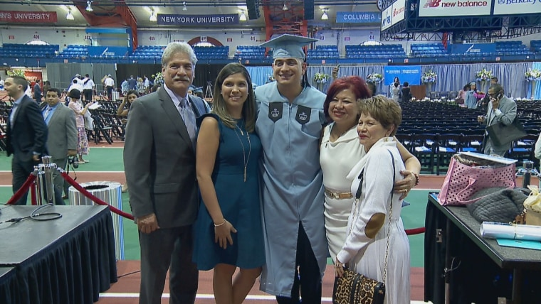 Richard Gamarra and family together on graduation day at Columbia University Mailman School of Public Health.