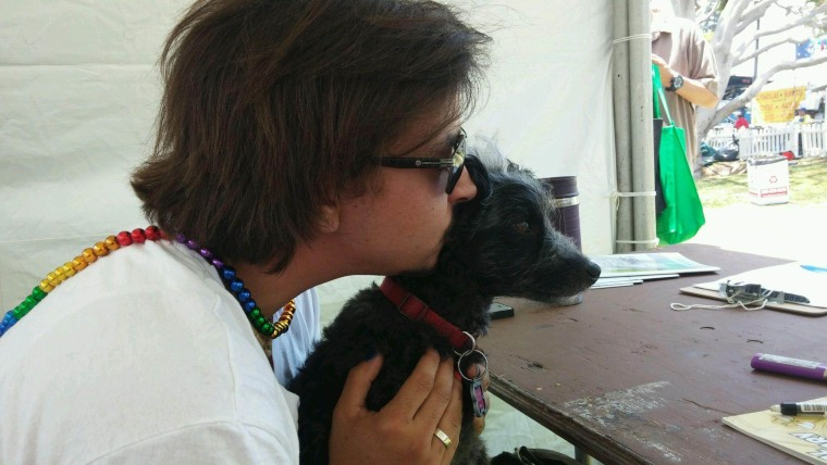 LGBTQ advocate Kyle Sawyer and his dog, Max