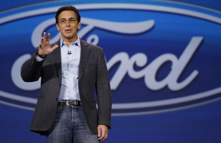 Mark Fields, CEO of Ford Motor Co., speaks at his company's keynote at the International Consumer Electronics show (CES) in Las Vegas