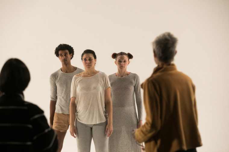 A behind the scenes still from Christine Sun Kim's next project, a choreographed dance piece with the MIT Media Lab.