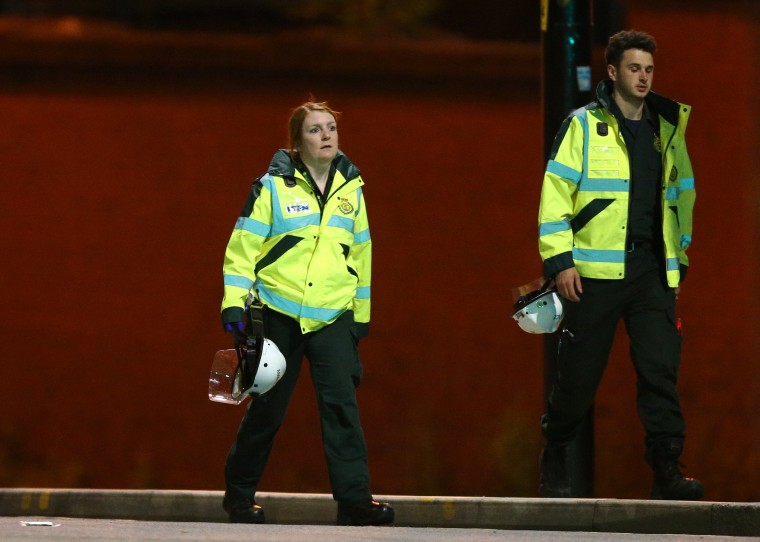 Image: Paramedics working at Victoria Railway Station, close to the Manchester Arena