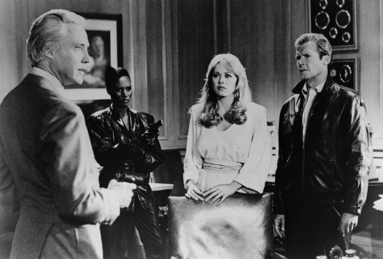 Image: Christopher Walken, Roger Moore, Tanya Roberts and Grace Jones in A View to a Kill