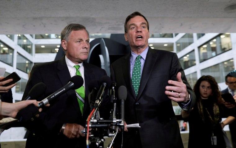 Image: Richard Burr and Mark Warner speak about Michael Flynn on Capitol Hill