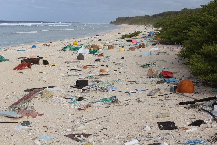 Image: Plasti waste on Henderson Island in the south Pacific Ocean
