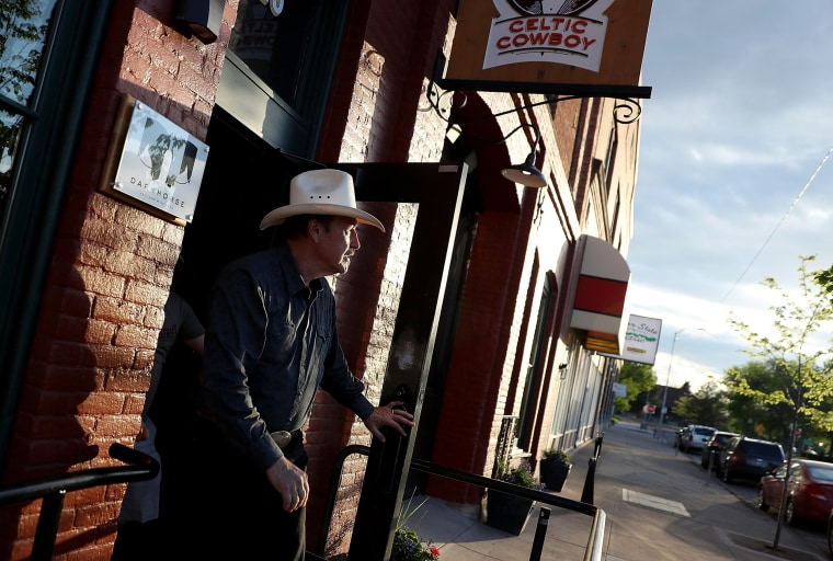 Image: Quist leaves a gathering in Great Falls, Montana