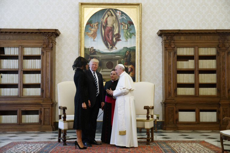 Image: Donald Trump, Melania Trump, Pope Francis