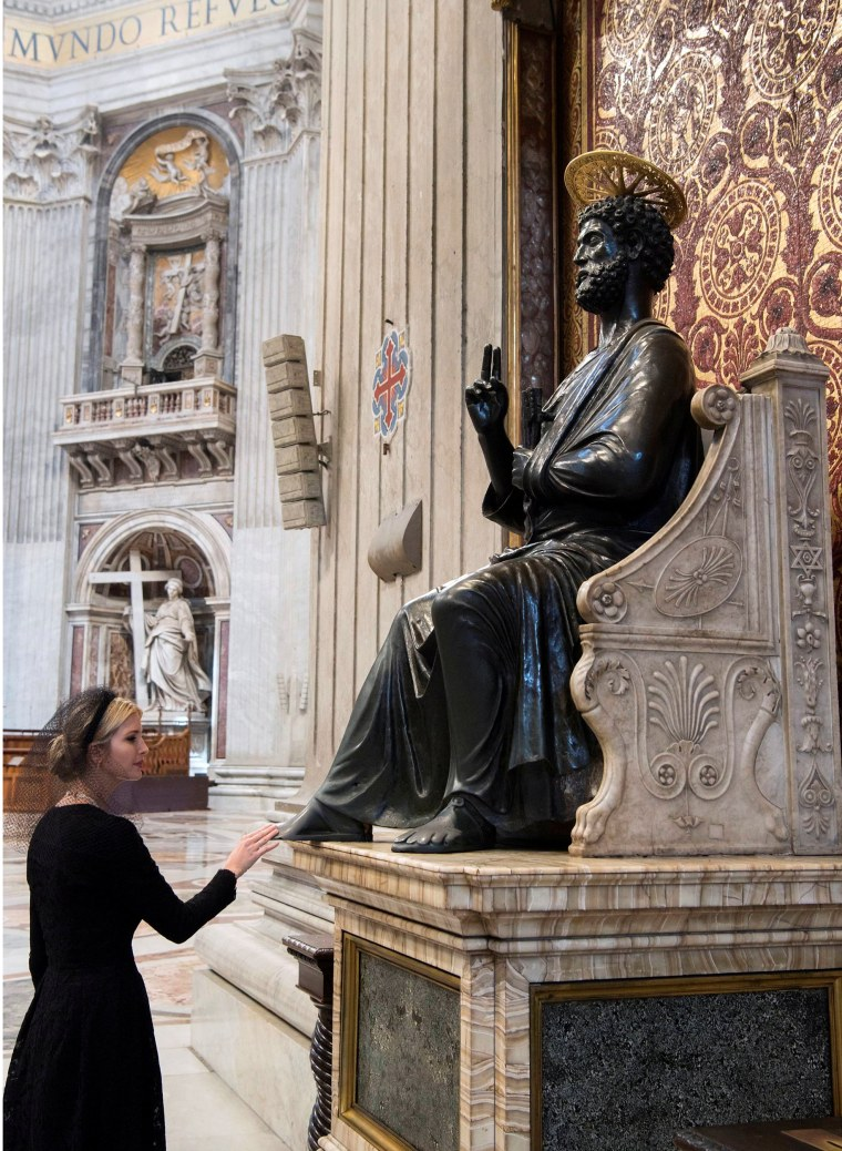 Image: Ivanka Trump touches the St. Peter statue inside the St.Peter's Basilica after a private audience with Pope Francis at the Vatican