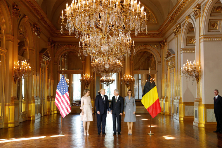 Image:  U.S. President Donald Trump and first lady Melania Trump pose with King Philippe and Queen Mathilde of Belgium at the Palace in Brussels