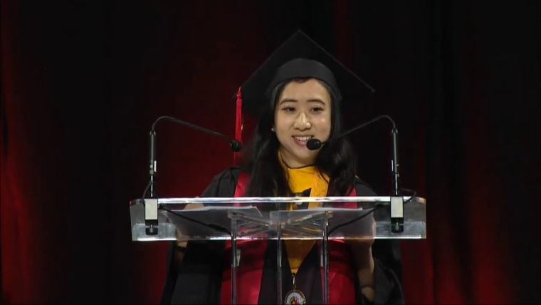 Shuping Yang is facing criticism in China over a commencement speech she gave at the University of Maryland.