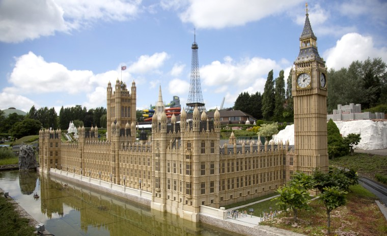 Image:  A miniature version of Britain's Parliament at Mini-Europe