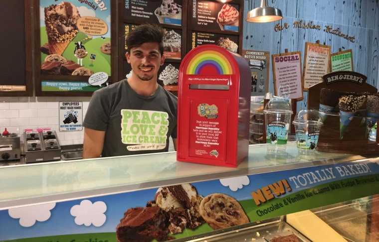 Image: A Ben and Jerry's employee with the equality mailbox