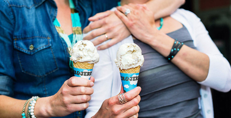 Image: Two women holding Ben and Jerry's ice cream cones