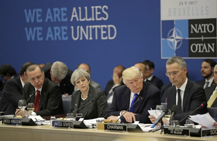 Image: NATO leaders during a working dinner meeting at the NATO headquarters during a NATO summit of heads of state and government in Brussels, May 25, 2017.