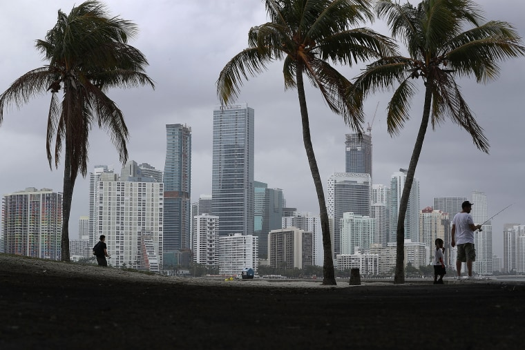 Image: The Miami city skyline is seen as the National Hurricane Center releases its prediction that the 2017 hurricane season will be above-average on May 25, 2017 in Miami, Florida.