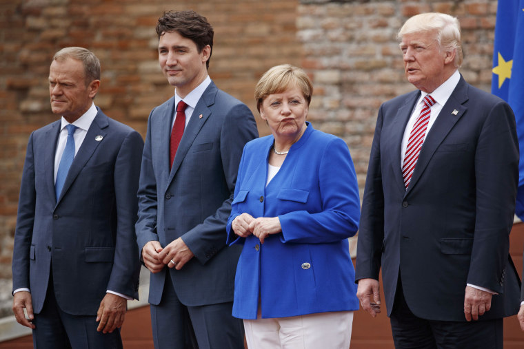 Image: Donald Trump, Donald Tusk, Justin Trudeau, Angela Merkel at the G7