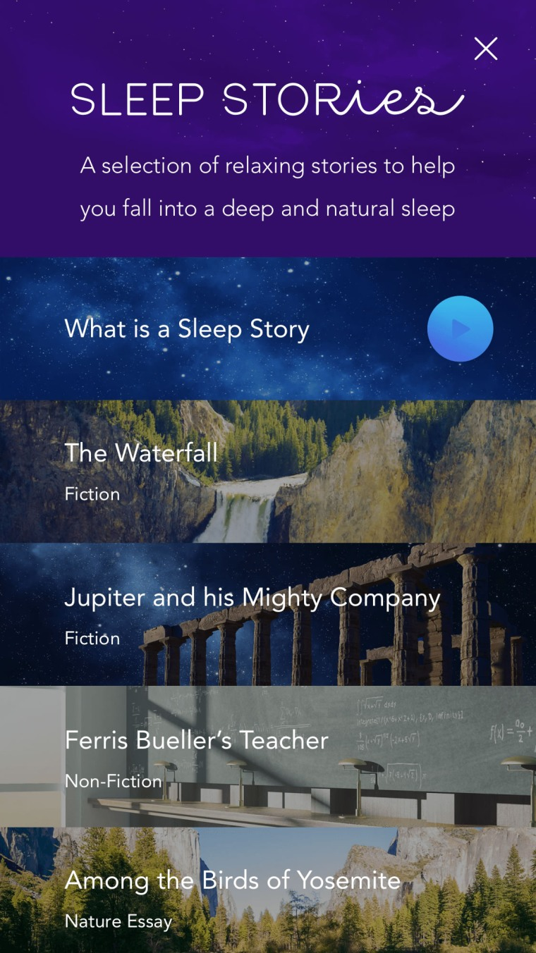 Image: Calm app sleep stories track