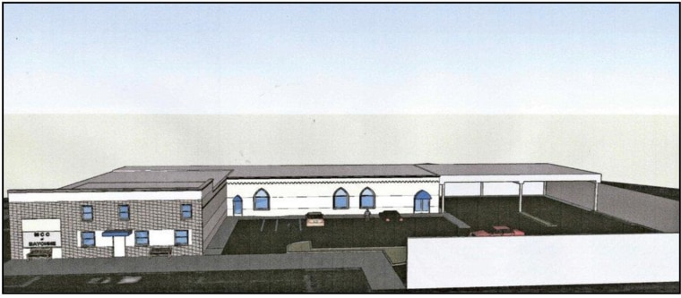 A rendering of the exterior of the proposed mosque in Bayonne, New Jersey, taken from court documents.
