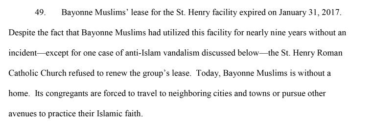 A Muslim congregation is suing the zoning board of the city of Bayonne, New Jersey, over a denied mosque.