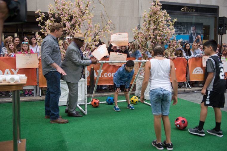 Kevin O'Connor shows off his DIY soccer goal!