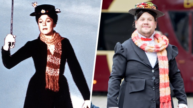 Julie Andrews and James Corden as Mary Poppins