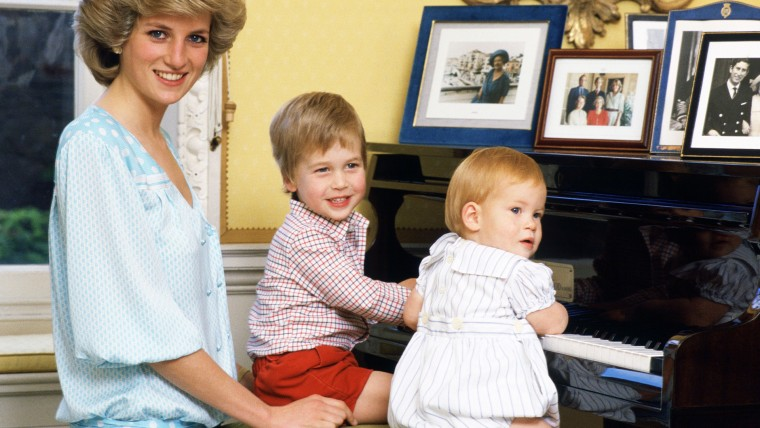 Diana, Princess of Wales with her sons, Prince William and P