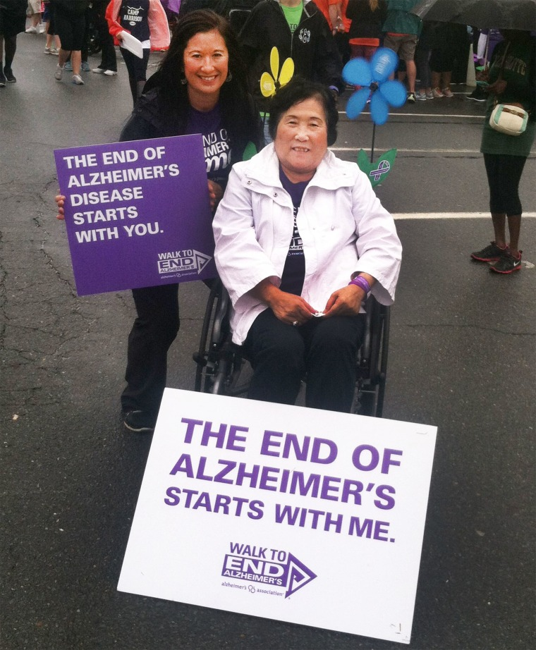 Christine Stone, with her mom, Setsuko Harmon, during an Alzheimer's charity walk.