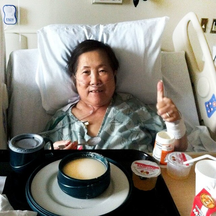 """""""My mom is an incredibly strong woman,"""" Stone said about her 77-year-old mother, shown here while she battled, and ultimately overcame, stage 4 colon cancer."""
