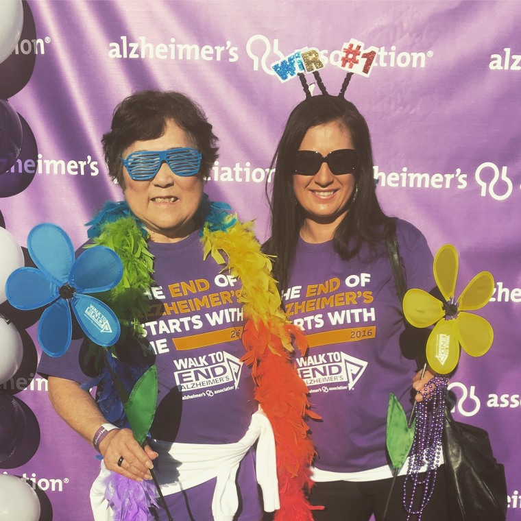 Stone and her mom during last year's Alzheimer's charity walk.