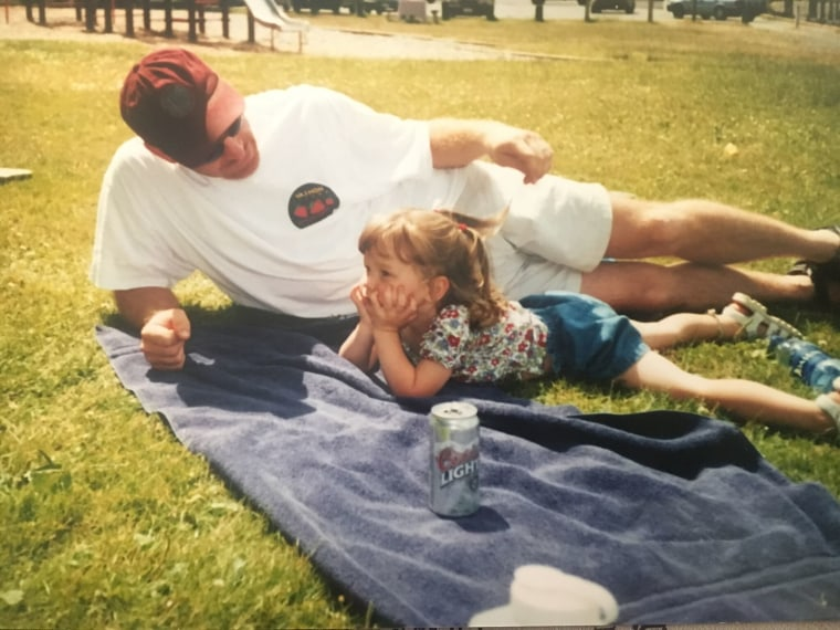 Meg with her dad back in 2003