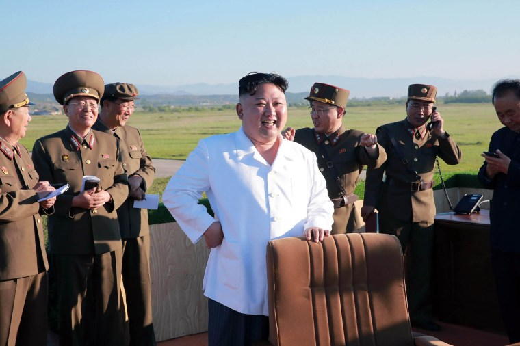 Image: North Korean leader Kim Jong-Un inspecting the test of a new anti-aircraft guided weapon system organized by the Academy of National Defense Science at an undisclosed location, May 28, 2017.