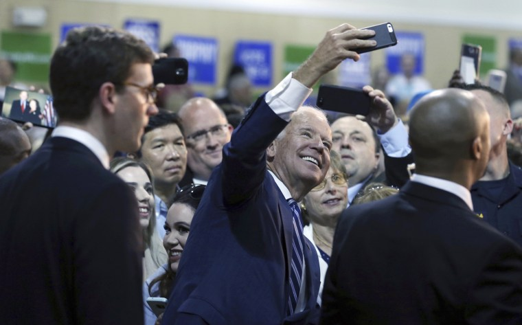 Image: Former Vice President Joe Biden takes a selfie at a campaign event for New Jersey Democratic gubernatorial candidate Phil Murphy
