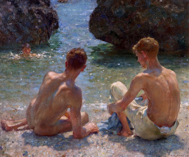 """""""The Critics"""" (1927) by Henry Scott Tuke is on display at Tate Britain in London as part of its """"Queer British Art 1861-1967"""" exhibit."""