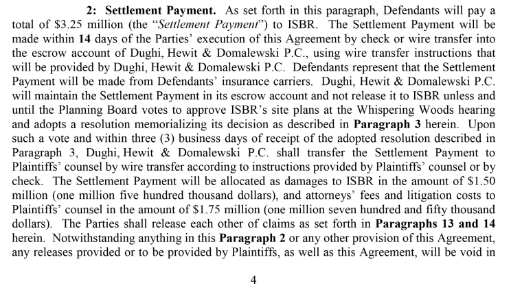 An excerpt of a settlement between Benards Township and the Islamic Society of Basking Ridge.