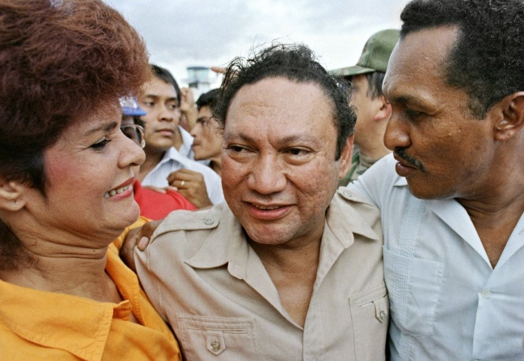 Image: General Manuel Antonio Noriega with supporters upon his arrival in the small remote city of David