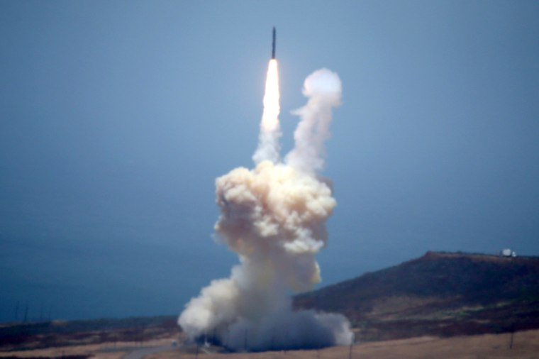 Image: The Ground-based Midcourse Defense (GMD) element of the U.S. ballistic missile defense system launches during a flight test from Vandenberg Air Force Base