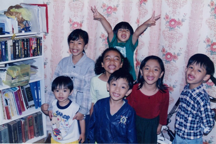 A young Asia Jackson with her cousins in the Philippines.