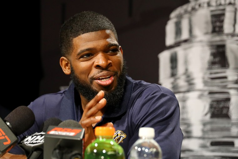 Image: P.K. Subban of the Nashville Predators answers questions ahead of the 2017 NHL Stanley Cup Final